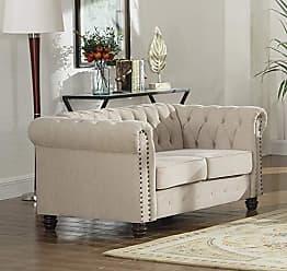 Best Master Furniture YS001 Venice Upholstered Loveseat, Beige