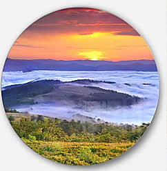 DESIGN ART Designart Yellow Sunrise Over Blue Waters - Landscape Photo Round Metal Wall Art - Disc of 38 38x38-Disc of 38 inch