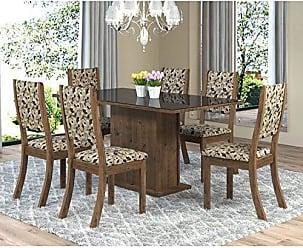 Viero Sala de Jantar Mesa Retangular Tampo de MDF Smart 6 Cadeiras Kiara Viero Grigio/Medina/Vidro Preto