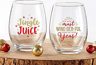 Kate Aspen 30023NA-2BRDGD 2pc Red & Gold Christmas Stemless Wine Glass 15 oz Glassware Gift Set, Red, Gold
