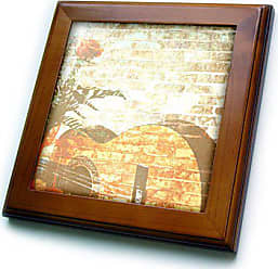 3D Rose ft_29289_1 Peach Rose and Guitar Brick Art Music-Framed Tile, 8 by 8-Inch