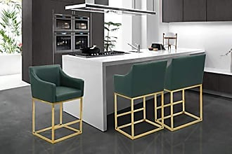 Iconic Home FCS9404-AN Bluebell Counter Stool Chair PU Leather Upholstered Slope Arm Design Architectural Goldtone Solid Metal Base Modern Contemporary, Green