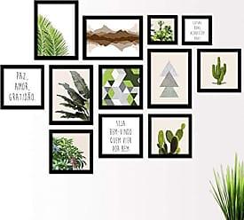Los Quadros Kit de Quadros Decorativos 12 Peças Folhagens Montanhas Cactos Los Quadros Preto