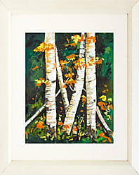 Buyartforless Buyartforless Framed Birchs II by Elizabeth Stack 16x20 Matted Art Print Poster Floral White Skinny Trees Yellow Orange Flowers Painting