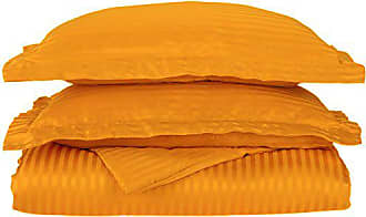 Home City Inc. Superior 1500 Series 100% Brushed Microfiber 3-Piece Full/Queen Duvet Cover Set Stripe, Orange - Super Soft and Wrinkle Resistant