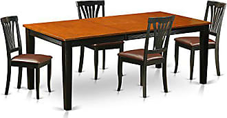 East West Furniture QUAV5-BCH-LC 5 Piece Dining Table with 4 Solid Wood Chairs Set