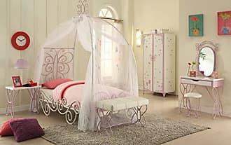 Benzara BM163454 Angel Bed With Canopy, White/Purple