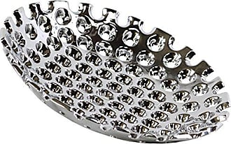 Urban Trends Collection Urban Trends Ceramic Round Concave Tray with Perforated Design, Large, Polished Chrome Silver