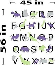 The Decal Guru Animal Alphabet Wall Decal (Purple, Grey, Green, 56 (H) X 45 (W))
