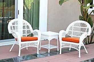 Jeco W00209-C_2-CES016 3 Piece Santa Maria Wicker Chair Set with Orange Cushions, White