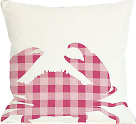 One Bella Casa Plaid Crab Throw Pillow by OBC, 18x 18, White/Pink