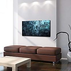 Ready2HangArt Smash VIII Abstract Modern Contemporary Canvas Wall Art Print, 20 x 40, Blue
