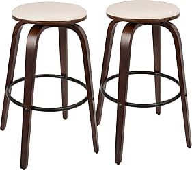 LumiSource Porto 30 in. Mid-Century Modern Bar Stool - Set of 2 White - BS-PRT CH+W2