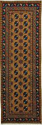 Nain Trading Afghan Akhche Baghlan Rug 81x28 Runner Brown/Dark Blue (Afghanistan, Wool, Hand-Knotted)