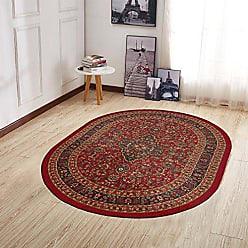 Ottomanson Ottohome Collection Persian Heriz Oriental Design Non-Skid (Non-Slip) Rubber Backing Area Rug, 5 X 66 Oval, Dark Red