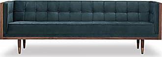 Kardiel Woodrow Midcentury Modern Box Sofa, Neptune Velvet/Walnut