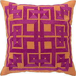 Surya LD014-1818D Down Fill Pillow, 18-Inch by 18-Inch, Magenta/Burnt Orange