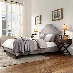 Weston Home Bailey Upholstered Nailhead Platform Bed Gray, Size: Queen - E377B022W(3A)[BED]
