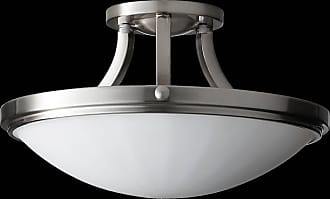 Feiss SF283BS Perry Semi Flushmount in Brushed Steel finish with White Opal Etch Glass
