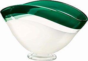 Qualia Glass Centerpiece, 15, Green/White, 15