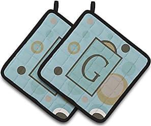 Initial E Blue Argoyle Pair of Pot Holders CJ1020-EPTHD Carolines Treasures Monogram 7.5HX7.5W Multicolor