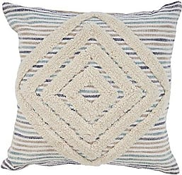 L.R. Resources Inc. PILLO07345BUNIIPL Blue Geometric Striped Throw Pillow, 18 x 18, Natural