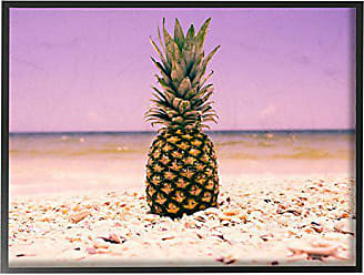 Stupell Industries Stupell Home Décor Pink Purple Pineapple Beach Framed Giclee Texturized Art, 11 x 1.5 x 14, Proudly Made in USA