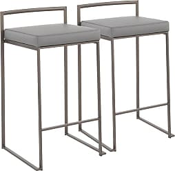 LumiSource Fuji Faux Leather Stackable 27.75 in. Counter Stool - Set of 2 - B26-FUJI W+GY2