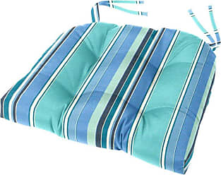 Cushion Source Sunbrella Striped 18 x 16 in. Tufted Chair Cushion Foster Surfside - GGEDG-56049