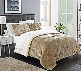 Chic Home Josepha Pleated Ruffled and Pintuck Sherpa Lined, Twin-XL Comforter, Beige
