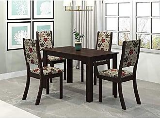 Viero Conjunto Sala de Jantar Mesa Violeta 4 Cadeiras Kiara Viero Choco/Passion