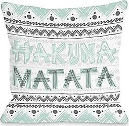 One Bella Casa Hakuna Matata 2 Throw Pillow Cover by OBC, 16x 16, White/Aqua/Gray