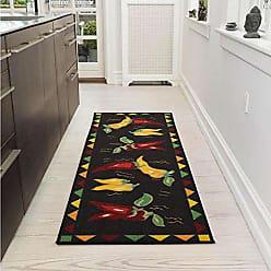 Ottomanson Siesta Collection Kitchen Hot Peppers Design (Non-Slip) Runner Rug, 20 x 59, Black