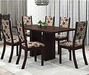 Viero Conjunto Sala de Jantar Mesa Avenida e 6 Cadeiras Kiara Viero Choco/Passion