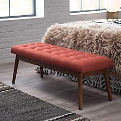 Belham Living Darby Mid Century Modern Upholstered Bench - Orange - RH150937-ORG
