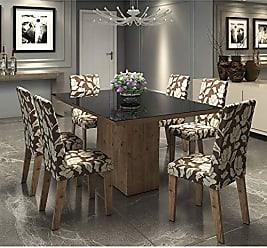 Viero Conjunto Sala de Jantar Mesa Tampo em Vidro Preto 6 Cadeiras Conext Viero Grigio/Coffee
