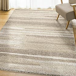 Orian Rugs Super Shag Collection 392807 Modern Motion Area Rug, 710 x 1010, Beige