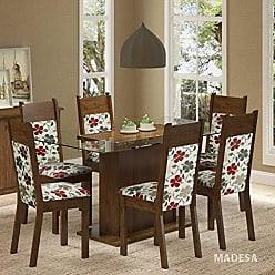 Madesa Conjunto Sala de Jantar Mesa 6 Cadeiras Atlanta Madesa Rustic/Floral Hibiscos