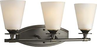 PROGRESS P3248-77 Three-light bath bracket in Forged Bronze finish with seeded topaz glass