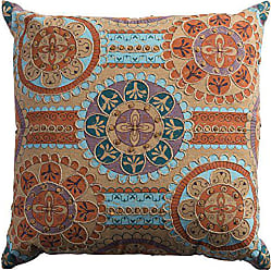 Rizzy Home Cotton Decorative Filled Pillow Medallions Linked Decorative Pillow, 20 x 20, Orange