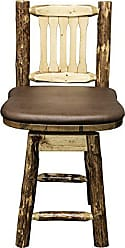 Montana Woodworks MWGCBSWSNRSADD24 Glacier Country Collection Counter Height Barstool with Back & Swivel, Saddle Upholstery