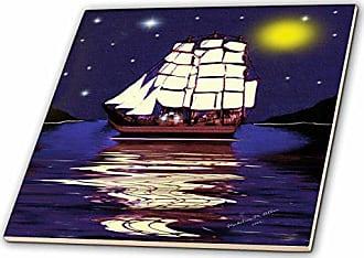 3D Rose ct_6675_5 A Nautical Dream-SmudgeArt Ship Art-Glass Tile, 4-Inch