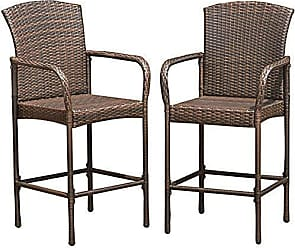 Costway HW54952 Set of 2 Patio Stools Indoor Outdoor Use Wicker Rattan Barstool with Footrest for Garden Pool Lawn Backyard Study Steel Frame Bar ChairsFurniture (Light Brown), Mix