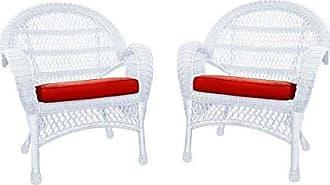 Jeco W00209-C_2-FS018-CS Wicker Chair with Red Cushion, Set of 2, White/W00209
