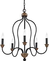 Feiss Hartsville 5 - Light Chandelier in Dark Weathered Zinc / Weathered Oak