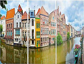 DESIGN ART Designart Ghent Belgium Landscape - Photography Glossy Metal Wall Art, 28 H x 36 W x 1 D 3P, Blue
