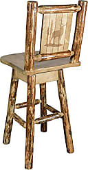 Montana Woodworks Glacier Country Collection Counter Height Barstool with Back & Swivel, Laser Engraved Elk Design