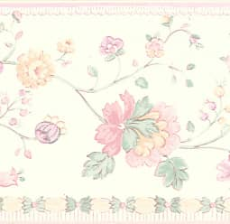 Brewster Home Fashions Erica Floral Wall Border Pink / Blue / Gold - 413B05872