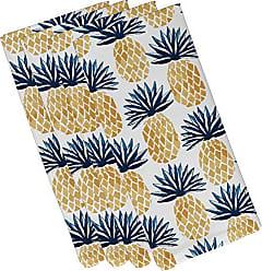E by Design E by design N4G802BL44 Pineapple Stripes, Geometric Print Napkin, 19 x 19, Blue