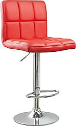 Round Hill Furniture Swivel Red Bonded Leather Adjustable Hydraulic Bar Stool, Set of 2